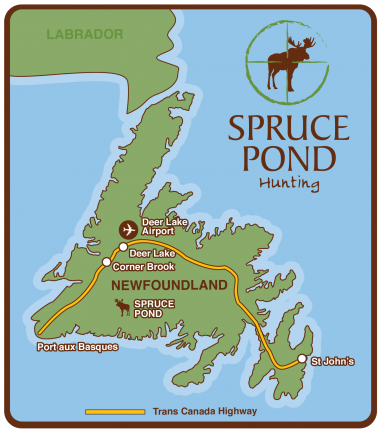 Map of Newfoundland and Spruce Pond Hunting